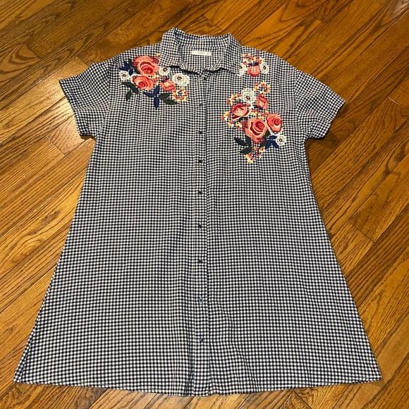 Mango Gingham Embroidered Dress Size M 😍 🔥